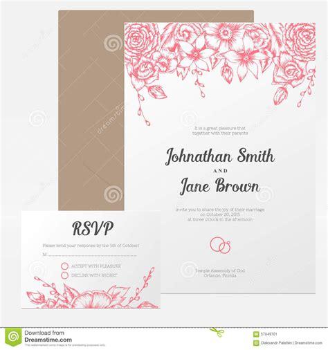 wedding invitation no and guest 2 vector vintage floral wedding invitation stock vector