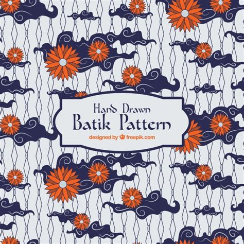 batik pattern background in vector batik pattern with flowers and clouds vector free download