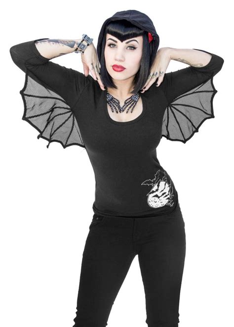 Dress Hoodie Bat kreepsville 666 bat wing hooded tunic top attitude clothing
