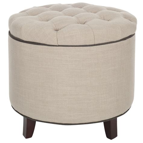 Shop Safavieh Hudson White Grey Round Storage Ottoman At Storage Ottomans