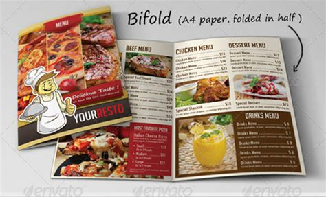 bi fold menu template restaurant menu templates graphic designs
