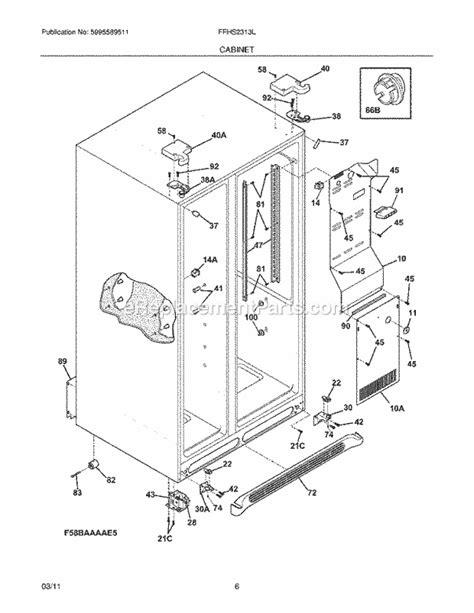 frigidaire gallery refrigerator parts diagram frigidaire ffhs2313ls3 parts list and diagram