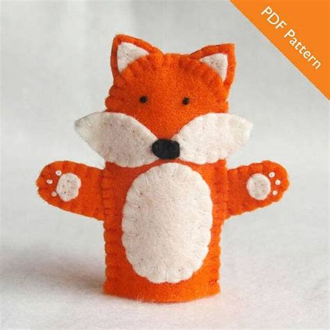 felt orange pattern fox finger puppet pattern puppet pattern fox pattern