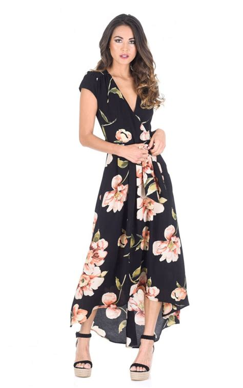 Sleeve V Neck Maxi Dress black floral v neck maxi dress silkfred