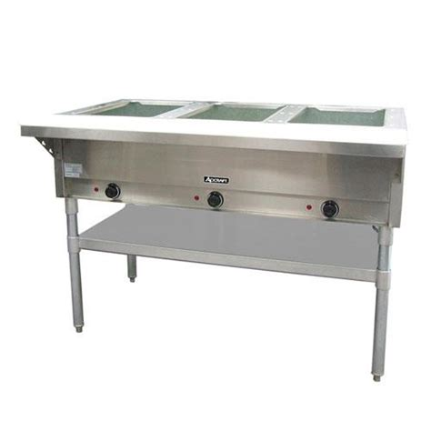used steam table adcraft st 120 3 48 1 2 in three well steam table