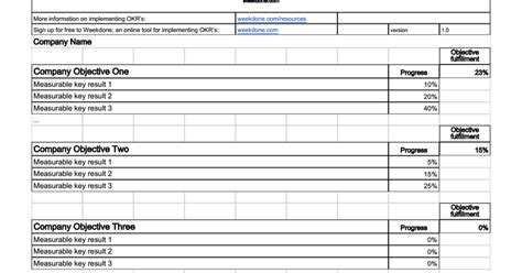 okr template spreadsheets okr software comparison