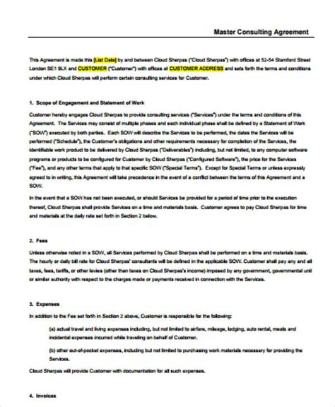 consulting agreement sle in word master service agreement template consulting 28 images