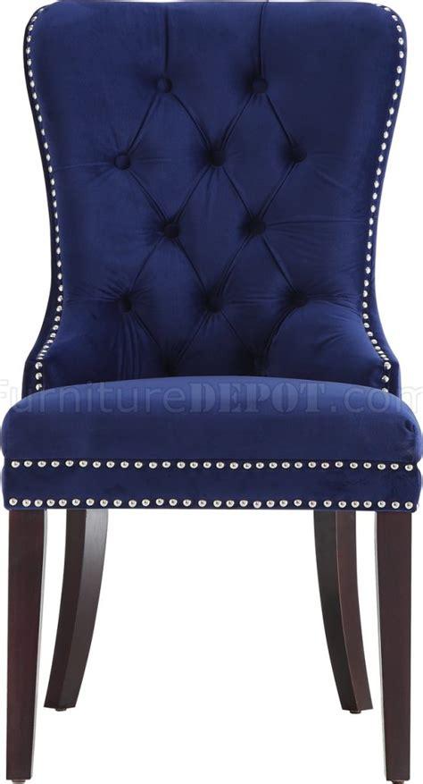 nikki dining chair  set   navy velvet fabric  meridian