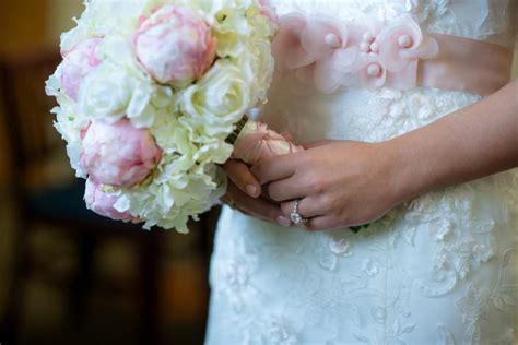 light pink and ivory wedding bouquets light pink peony bud and ivory hydrangea silk wedding