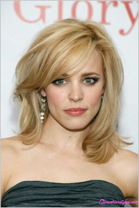 shoulder sweep haircuts women medium length haircuts with side swept bangs and layers