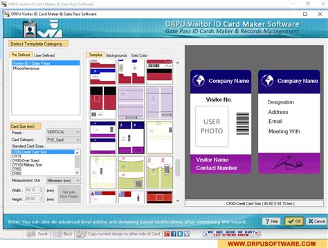 visitor card template software screenshots of drpu gate pass id cards maker visitors
