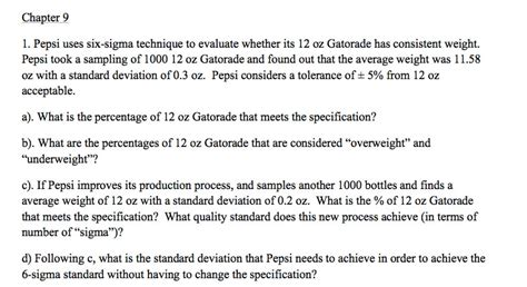 chapter 9 weight management test chapter 9 1 pepsi uses six sigma technique to