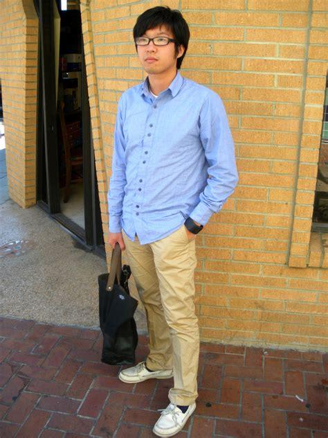 khaki pants and boat shoes jonathan li five four chambray shirt h m khaki pants