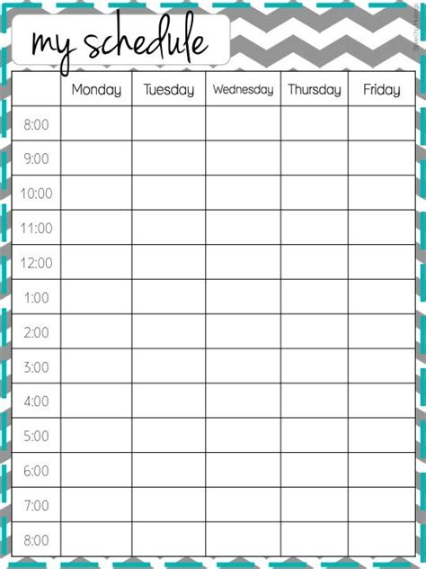 Weekly Schedule On Pinterest Weekly Planner Printable Daily Schedule Printable And Time Weekly School Schedule Template