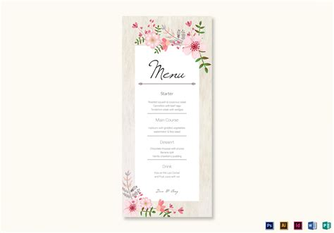 Publisher Menu Card Templates by Pink Floral Wedding Menu Card Design Template In Psd Word