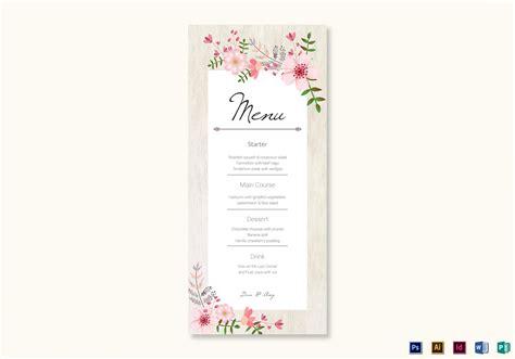 publisher menu card templates pink floral wedding menu card design template in psd word