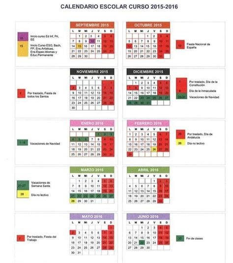 Calendario Escolar Sep 2015 16 Calendario Escolar Pedro Antonio De Alarc 243 N