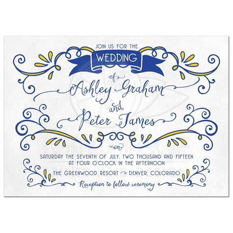 Wedding Invitation Yellow And Blue by Wedding Invitation Royal Blue And Yellow Cogimbo Us