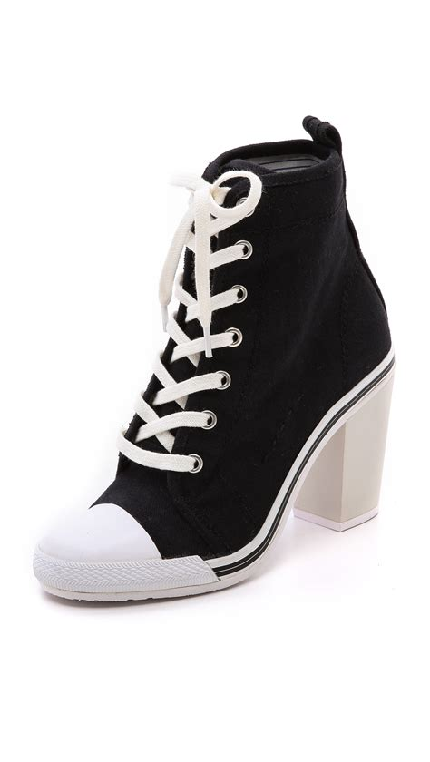 high heel sneakers opening ceremony high heel sneakers in black lyst