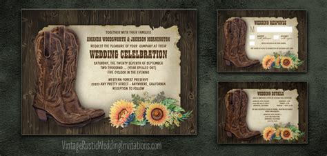 Country Themed Wedding Invitations by Sunflower Wedding Invitations Vintage Rustic Wedding
