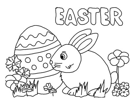 easter bunny and eggs pages coloring pages
