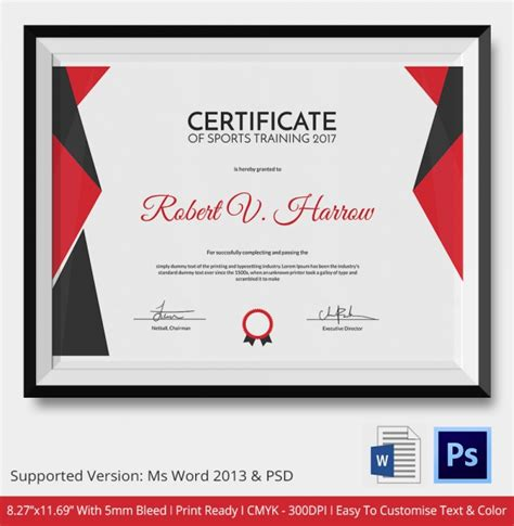certificate design sports sports certificate template 6 word psd format download