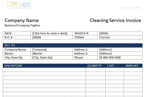Cleaning Service Invoice Template Dotxes Janitorial Services Template