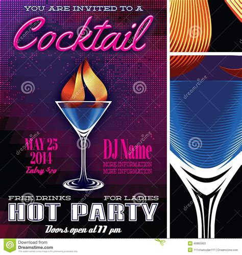 vintage cocktail party poster poster template for the cocktail party stock vector