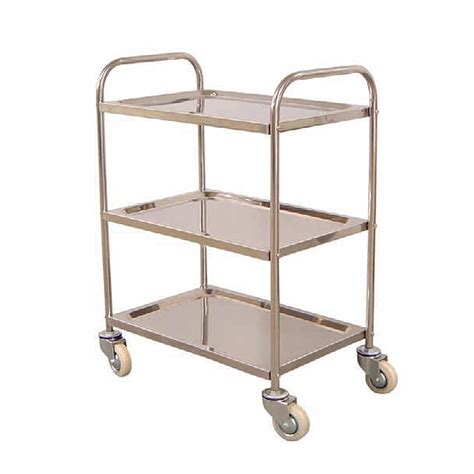 Three Shelf Cart by Luxor Three Shelf Stainless Steel Lightweight Cart L100s3