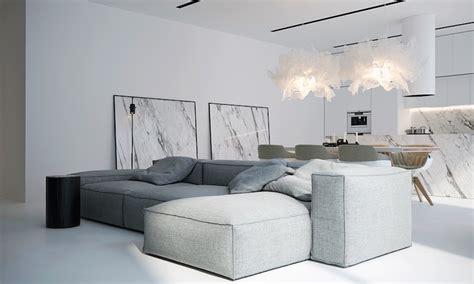 interieur et canape int 233 rieur blanc moderne salon avec grand canap 233 d angle