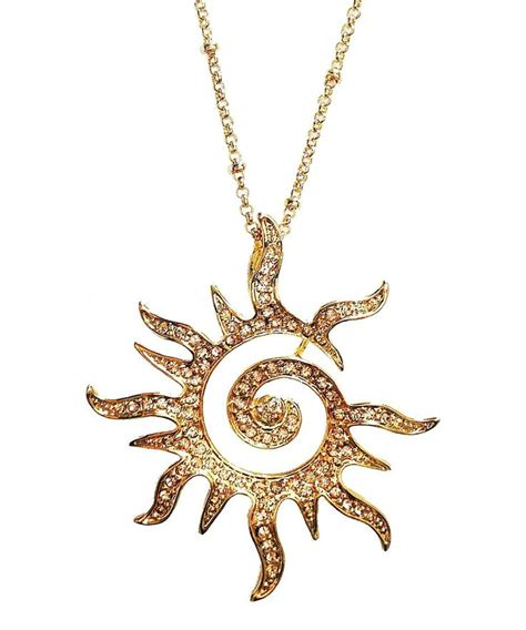 yellow gold crystal blazing sun pendant necklace