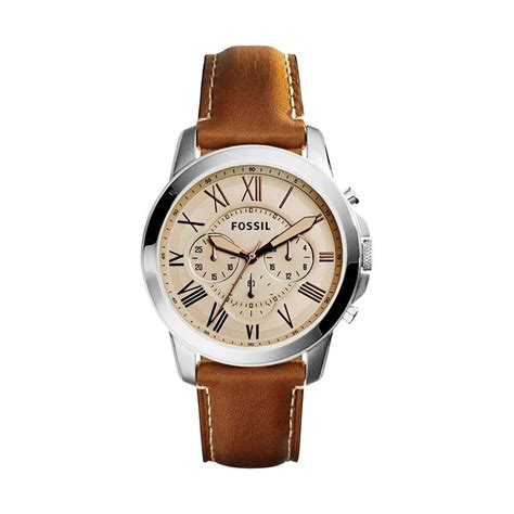 Jam Fossil Grant Beige Brown Leather Fs5152 harga jam pria fossil grant fs5118 original pricenia