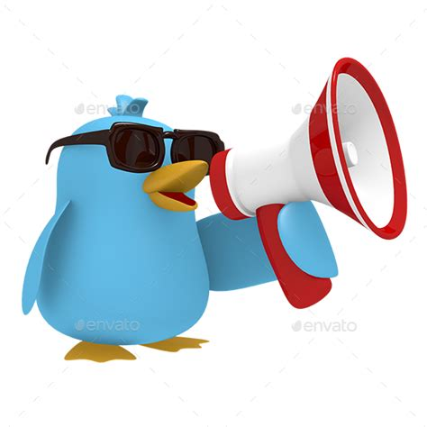 How To Make A Bird Call Out Of Paper - blue bird with a megaphone by aberheide graphicriver