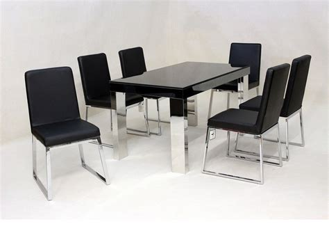 Black Glass Chrome Dining Table And 6 Chairs Homegenies Glass And Chrome Dining Table And Chairs