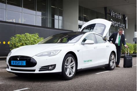 tesla taxi tesla taxis in follow in all electric green