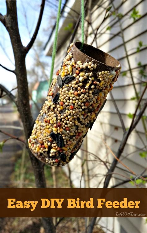 easy bird feeder crafts for preschool activity make a bird feeder from a toilet paper