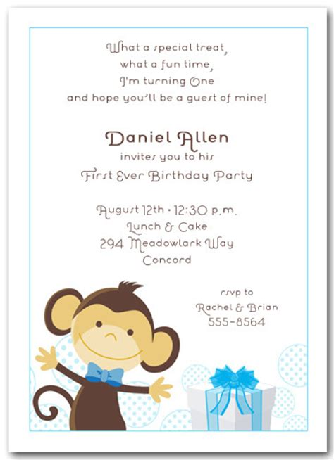 template in afrikaans boy monkey birthday invitations