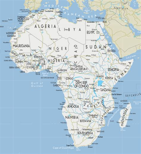 africa map with cities africa city map