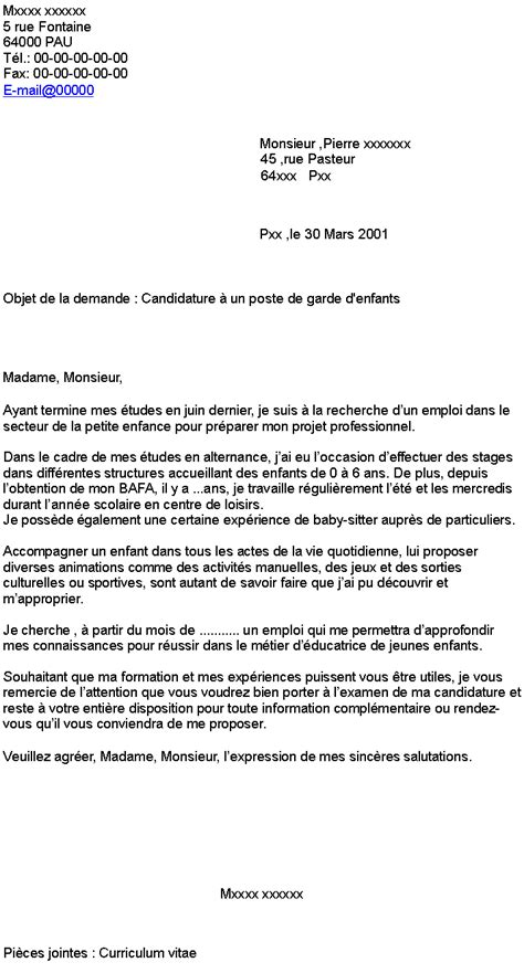 lettre de motivation de candidature lettre de motivation
