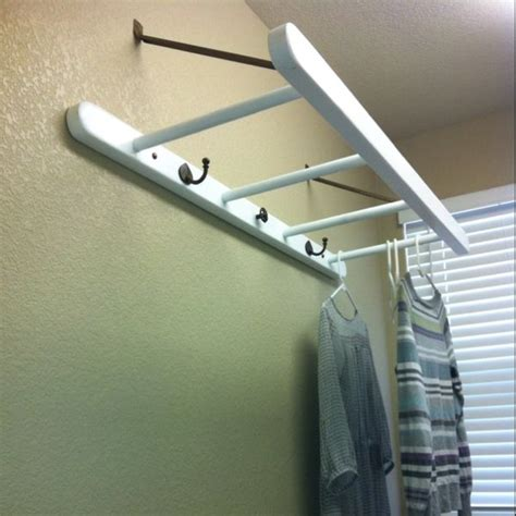laundry room clothes hanger laundry room drying rack my made the ladder and mounted it to the wall furniture