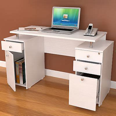 Office Desk With Locking Drawers Inval White Modern Computer Writing Desk With