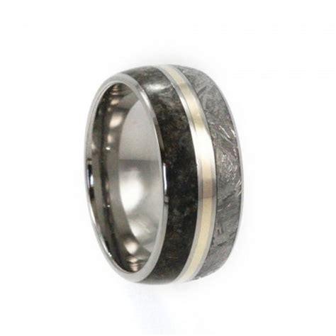 meteorite wedding band titanium ring with a 14k yellow