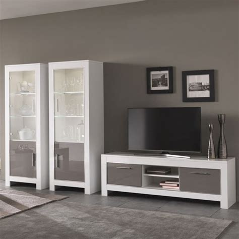 White Gloss Living Room Furniture Lorenz Living Room Set In White And Grey High Gloss And Led