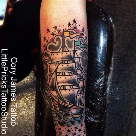 cory james tattoo studio clipper ship by