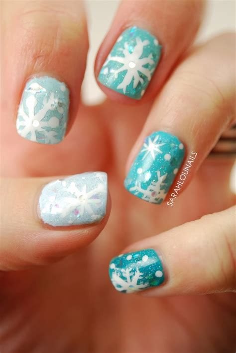 snowflake pattern nails 16 snowflake nail designs to try this winter fashionsy com