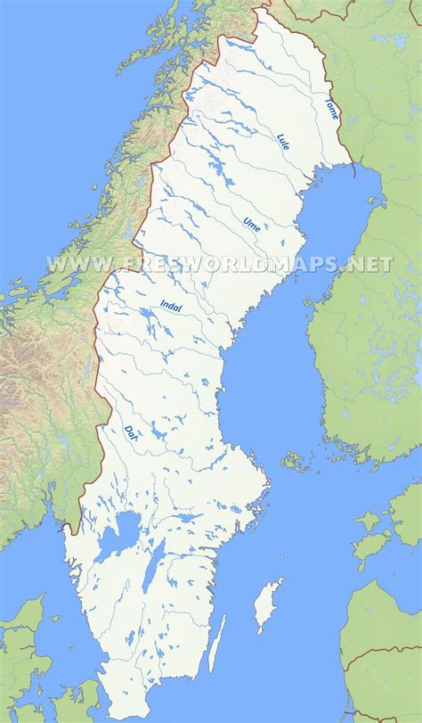 physical map of sweden sweden physical map