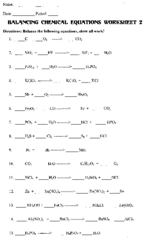 balancing chemical equations worksheet 1 answers key 12 best images of balancing chemical