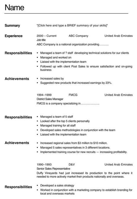 Cv Format For Vocational Training | download abu dhabi cv template for free formtemplate