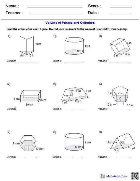 Volume Of Cylinders Worksheet by Volume Of Prisms And Cylinders Worksheet Lesupercoin