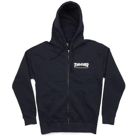 Thrasher Zipper Hoodie thrasher logo zip hoodie navy